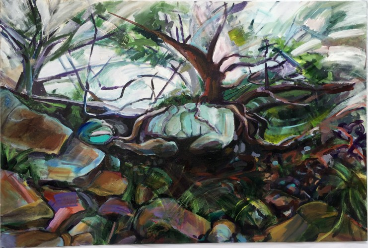 Rooted in the Rocks, 2015, Acrylic on canvas, 31.25